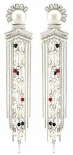 Zest Pearl Bead & Swarovski Crystal Long Chain Drop Chandelier Pierced Earrings