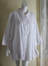 NEW Denim & Co -Sz 3X White Cotton Embroidered Beautiful Shirt Top