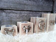 4Lovely Heart Birch Wooden Tea Light Candle Holders Wedding Mother's day gift