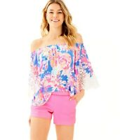 NWT Lilly Pulitzer Adie Short Solid Neon Pink Sunset Women Size 2 Side-zip 30379