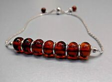 Slider Bracelet Baltic Amber Cognac Beads Sterling Silver Chain One Size Fits