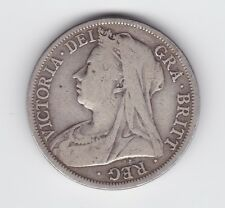 1901 Great Britain UK Half Crown Silver Coin Queen Victoria G-142