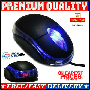 Wired USB Optical Mouse for PC Laptop Computer Scroll Wheel LED Lights Gaming