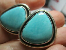 STERLING SILVER 925 ESTATE DESIGNER PALE BLUE TURQUOISE CLIP ON 1 INCH EARRINGS