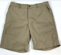 Greg Norman Men's Khaki Shark Logo Golf Shorts Size 34 Flat Front EUC A0604