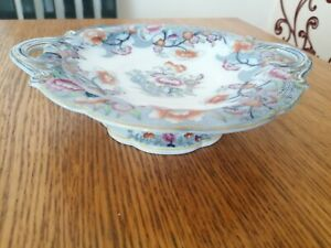 ANTIQUE PEDESTAL BOWL PLATE 'SEMI CHINA' BEAUTIFUL DESIGN