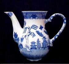 Blue Willow Porcelain Wall Pocket Teapot Vase Large Birds Oriental Pagodas NEW