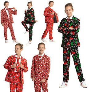 New Kids Children Boys Girls Xmas Christmas Party Suit Costumes Snowman Santa