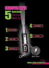 Innovative 5 Function Tweezers with Light, Mirror & Nail File Retractable & Safe