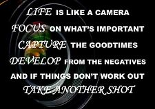 LIFE INSPIRATIONAL MOTIVATIONAL QUOTE  POSTER LIFE IS LIKE A CAMERA...A4 260GSM.