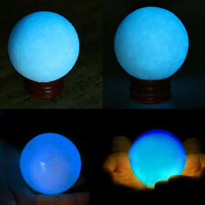 50MM Blue Luminous Quartz Crystal Sphere Ball Glow In Dark Stone With Base US