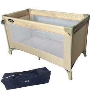 Lettino Culla Box da Viaggio Campeggio per Bambini Pieghevole 125x65x73cm Beige