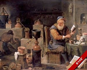 THE ALCHEMIST & HIS APPRENTICE IN LABRATORY PAINTING ART REAL CANVAS PRINT