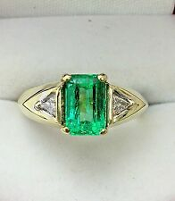 18K Yellow Gold Emerald and Diamond Ring 1.60 Carat Emerald Retail $6,650.00