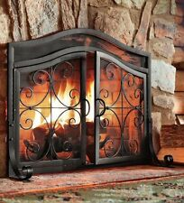 fireplace screen door black fire large guard wrought iron ornamental scroll