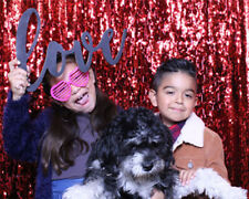 9x9ft Wedding Sequin Red Backdrop Photography Backdrop Glitter Sequin