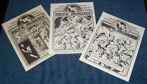"Lot/3, 8-1/2 x 11"" PC PACIFIC NEW COMICS PROMO #1-3 Groo Elric Kirby Berni 1983"