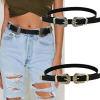 Womens Double Buckle Black Belt Thick Faux Leather Western Waist Band VintageIIT