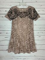 Free People Women's S Small Pink Black Brown Lace Short Sleeve Cute Fall Dress