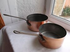 French 2 of copper  pots saucepans  marked , 6.3'' ,7'' thickness 0.8 mm.