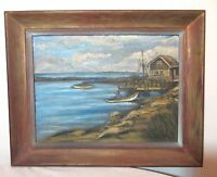 vintage original Folk Art M Johnson nautical coast shore house dock oil painting