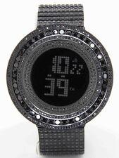 King Master Men's Black CZ Full Case & Band Custom Bezel Case Digital SS Watch