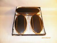Four Pieces Set Elgin American Brush/Comb Set Black and Gold Art Deco Design