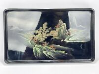 Vintage Chinese Lacquered Plastic Serving Tray Hand Painted GOLD Gilt Scene 12in