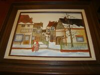 H. Hargrove Oil Painting Frame General Store winter snow mother daughter scene