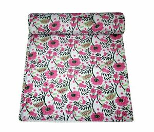 Indian 100% Cotton Hand Block Print Twin Bedding Kantha Quilt Coverlet Bedspread