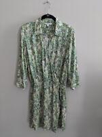 Cabi Faux Wrap Leaf Print Dress #280 3/4 Sleeves Womens Size S
