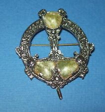 Vintage Silver Colour Metal Penannular Style Brooch with Green Agates