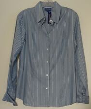 Pendleton Womens Blue Striped Silk Blend Button Up Career Blouse Shirt Size 8