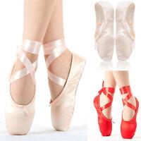 femme élégant danse classique Ballet Chaussures bout professionnel satin pointé