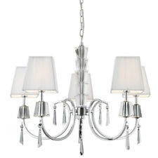 Searchlight 6885-5CC Portico Chrome 5 Light Fitting Crystal Drops & White Shades