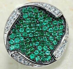 3CT Emerald & Topaz 925 Solid Genuine Silver Ring Jewelry Sz 7, CG4-1