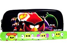 Rovio Angry Birds Pencil Pouch /Pencil Case(Black) and Slap Bracelet Combo-New!