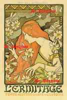 Art Nouveau Advertising Print L'Ermitage Paul Berthon Red Haired Woman Poster