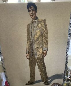 """ELVIS PRESLEY Gold Color Woven Throw Blanket Wall Tapestry W/ Fringe 50"""" X 70""""."""