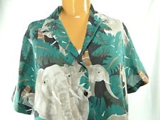 Vintage 80s Cheryl Tiegs Elephant Jungle Blouse Size 16 Button Top Made in USA