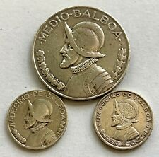 PANAMA SILVER 1/2  MEDIO BALBOA 1933, 1/10 BALBOA 1931 & 1961 - 3 COINS