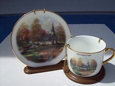 THOMAS KINKADE Cup and Plate THE ASPEN CHAPEL with Display Stand