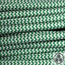 Textilkabel Stoffkabel Lampen-Kabel Stromkabel, Grün Zick Zack 3 adrig