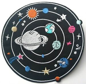 Planets Solar System Shooting Stars Moon Embroidered Patch Iron On Large 5""