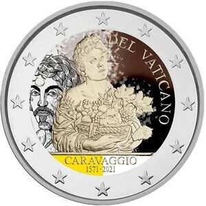 2 Euro Gedenkmünze Vatikan 2020 coloriert Farbe Farbmünze Caravaggio