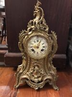 AD Mougin Deux Medailles 1880s French Louis XV Style Brass Mantle Clock