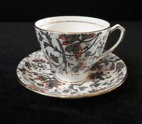 Vintage CLARENCE England Bone China TEA CUP & SAUCER 883/87 Gray & Orange Chintz