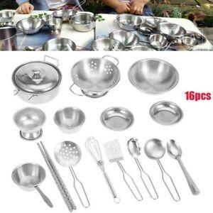 Childrens Toy Metal Kitchen Cooking Utensils Pots Pans Accessories Kids Play Set