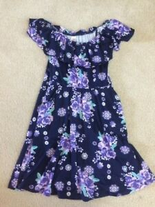 Girls Justice Navy Blue Floral Sun Dress Size 10