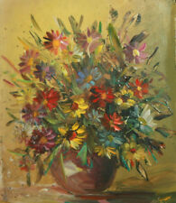European oil painting floral still life flowers expressionism signed